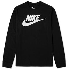 Nike Long Sleeve Futura Icon Tee (535 ZAR) ❤ liked on Polyvore featuring men's fashion, men's clothing, men's shirts, men's t-shirts, nike mens t shirts, mens longsleeve shirts, mens long sleeve shirts, mens crew neck t shirts and nike mens shirts
