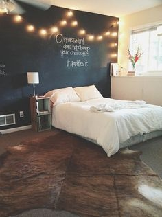 Chalkboard wall with string lights. Don't like the chalkboard wall but I like the idea.
