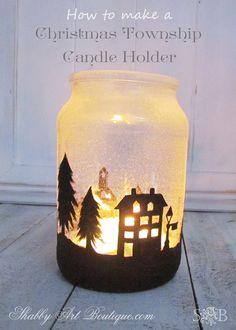 Painted Christmas Township Candle Jar by Shabby Art Boutique