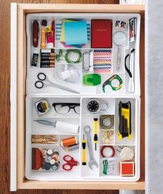 junk drawer organisation ideas - using ice cube trays, egg cartons, stackable trays, extendable drawer organisers