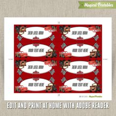 disney cars food labels | Disney Cars 2 Editable Birthday Food Labels - Tent Cards