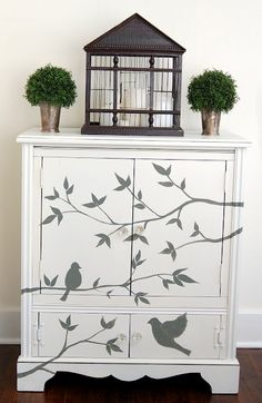 J-wouldn't this be fun to do to the black piece in you bedroom-in all our spare time!!! More how tos for paiting furniture from Miss Mustard Seed.