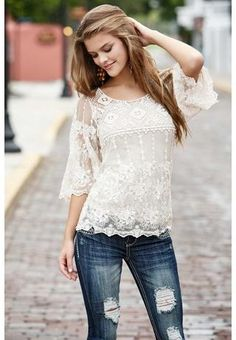 ~This crochet & lace top is just beautiful! It would also be perfect to represent Valentine's Day for me, because of the simplicity of the Ivory colored lace & crochet top; The pattern is also feminine & romantic & I would also just pair it up with a pair of jeans, tall boots for winter & crystal/simple/clear jewlery. ~Love this top!~