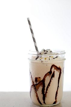 Peanut Butter Smoothie INGREDIENTS  1 cup low-fat greek yogurt 6 tbsp. creamy peanut butter ½ peeled banana, frozen* ½ cup old-fashioned oats 1 cup ice 2 tsp. vanilla extract 1 tbsp. honey Chocolate syrup, for serving (optional)