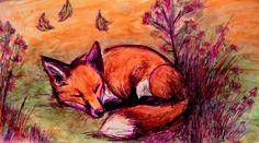 Asian Fox Drawing | Yeah sleeping fox, i used a drawing of culpeo fox as a model, i hope ...