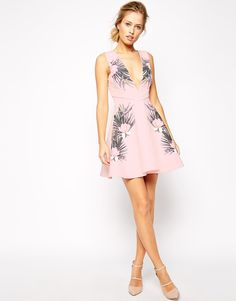 Image 4 ofStylestalker Avalon Tropical Print Dress With Plunge Neck