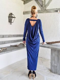 Indigo Blue Maxi Long Sleeve Dress / Indigo Blue Kaftan /