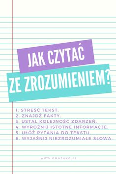 Jak czytać ze zrozumieniem? #blog #omathko #nauka #rozwój #matematyka #motywacja #wyzwanie #czytanie #rozumienie Sign Language Alphabet, Anatomy Study, Good Health Tips, School Notes, Teaching Strategies, Secondary School, School Hacks, Study Notes, School Organization