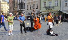 Buksers - Buskers performing in the Old Town Square in Prague, Czech Republic.