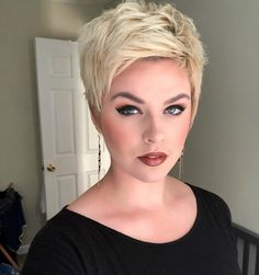 Pixie haircuts are one of the most beautiful and stylish short hairstyles, and in 2019 short pixie hairstyles are still hot and getting one is the perfect way to stand out from the crowd. Short Curly Wigs, Short Pixie Haircuts, Cute Hairstyles For Short Hair, Short Hair Cuts For Women, Pixie Hairstyles, Short Hair Styles, Women Pixie Haircut, Pixie Haircut For Round Faces, Simple Hairstyles