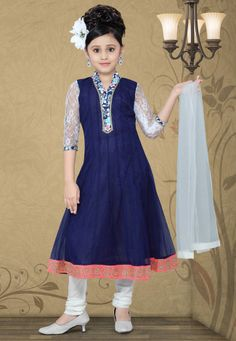 Dark Blue Net Readymade Anarkali Churidar Kameez Online Shopping: UND212