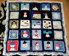 Snowman Afghan - no pattern, but lots of inspiration at link