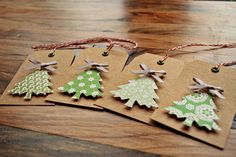 kraft & patterned paper Christmas tags