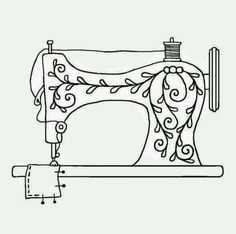 Vintage Embroidery Patterns To embroider on my sewing machine cover. Sewing Machine Tattoo, Sewing Machine Drawing, Sewing Machine Embroidery, Hand Embroidery Patterns, Vintage Embroidery, Cross Stitch Embroidery, Crewel Embroidery, Red Work Embroidery, Embroidery Tattoo