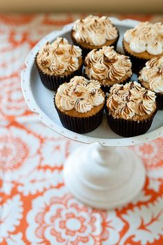 ** SWEET POTATO CUPCAKES (W/ TOASTED MARSHMALLOW FROSTING) - AP flour, baking powder/soda, cinnamon, butter, brown sugar, sweet potato puree, maple syrup, egg, sugar, cream of tartar, vanilla extract