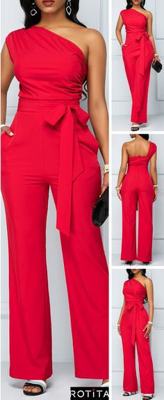One Shoulder Zipper Closure Rose Red Jumpsuit When you have a night event and you don't know what to wear this Rose Red Jumpsuit is going to save your life. Classy Outfits, Chic Outfits, Fashion Outfits, Womens Fashion, African Fashion Dresses, African Dress, Red Jumpsuit, Jumpsuit Pattern, Mode Outfits