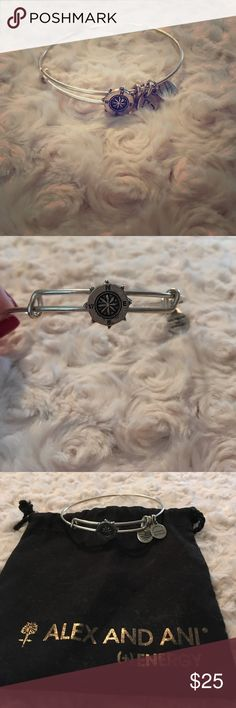 "Alex And Ani Compass Slider Bangle Out of production! Silver Alex and Ani Compass Bracelet. Barely worn, great condition! Compass meaning: An instrumental aid, a compass provides guidance and navigation through life's unexpected twists and turns. Each cardinal direction has a significant meaning. North represents home and wisdom. South embodies passion and creation. East signifies new beginnings and inspiration. West symbolizes introspection and reflection. ""Do life"" and any course you…"