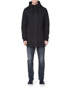 DEW SWEATSHIRT-Men's sweat hoody in cotton fleece blend. Features front zip-through fastening. Hood with lining and drawstring tie. Below-hip length. Men's Sweatshirts, Tiger Of Sweden, Cotton Fleece, Hoody, Hooded Jacket, Tie, Fitness, Jackets, Fashion