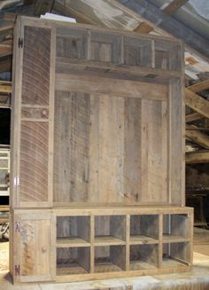 Barn Wood Hall Tree before hooks or finish applied
