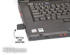 How to Make Wi-Fi Faster in Your Home: Wondering about how to make wi-fi faster on an old computer? Plug an 802.11ac adapter into the USB port. Learn how: http://www.familyhandyman.com/smart-homeowner/how-to-make-wi-fi-faster-in-your-home/view-all
