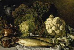 Still Life with Vegetables and Fish, Paris 1876 - oil on canvas - Asetelma Vihanneksia ja Kalaa, Pariisi - Churberg, Fanny (1845-1892)