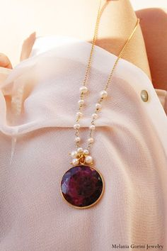 Vermeil necklace with faceted ruby cabochon pendant-rosary freshwater pearls-sterling silve findings-semiprecious stone charm