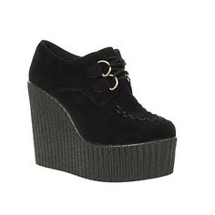Black Truffle Lace Up High Platform Wedge Creepers - High heel shoes - Shoes & boots - Women -