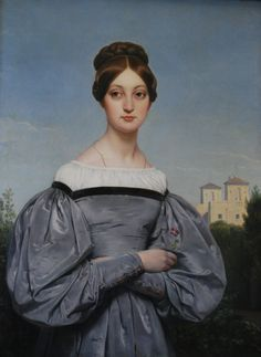 """""""Portrait of Louise Vernet"""" (1814–1845) Daughter of the Artist - Horace Vernet (French, 1789–1863), oil on canvas {female face dressed torso painter of battles, portraits and orientalist Arab subjects #ninetheenthcentury #arthistory}"""
