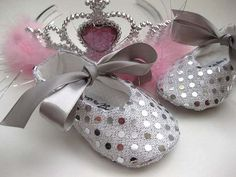 Baby girl shoes sequin handmade baby shoes fabric shoes- Joy Silver on Etsy, $29.00