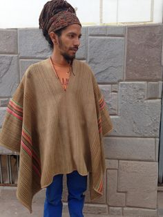 Authentic Vintage Alpaca Peruvian Poncho: Handwoven in the Andes Alpaca Poncho, Alpaca Wool, Hand Weaving, Trending Outfits, Sweaters, Etsy, Vintage, Ponchos, Hand Knitting