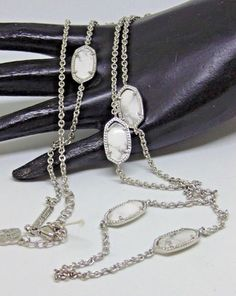 f405d1fea4dd KENDRA SCOTT Long Silver Color and White Stone Necklace 38