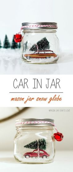 Mason Jar Crafts for Christmas: Red Volkswagen Beetle Snow Globe in Mason Jar: