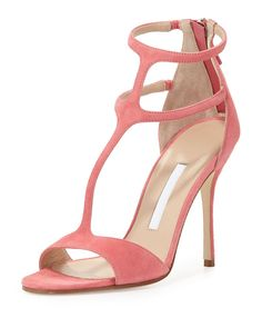 """- Manolo Blahnik suede sandal. - 4.3"""" covered heel. - Tapered strap over open toe. - T-strap vamp. - Two ankle straps with stretch insets. - Back zip eases dress. - Smooth outsole. - """"Cellin"""" is made"""