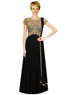 Black Embellished Georgette Anarkali Suit