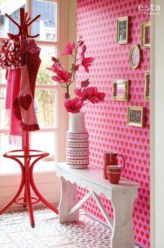 HD vliesbehang harten rood en roze