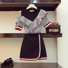 2018 Women Fashion Two Piece Sets Skirt Sets Sexy Off Shoulder Stripe Ruffled Long Design Shirt & High Waist Package Hip Skirts Cute Fashion, Asian Fashion, Look Fashion, Teen Fashion, Womens Fashion, Fashion Design, Kpop Outfits, Korean Outfits, Skirt Outfits