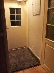 Laattalattian maalausprojekti ja tapetti sähkökaapin ovessa