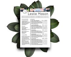 Leslie Mason Beautiful Resume CV Template for by YourStandOutShop