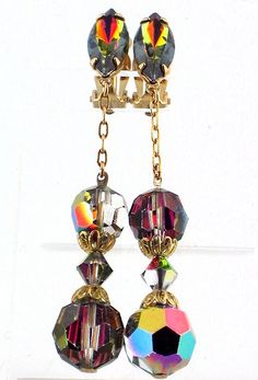 Vendome AB Vitrail Crystal Earrings 1950s