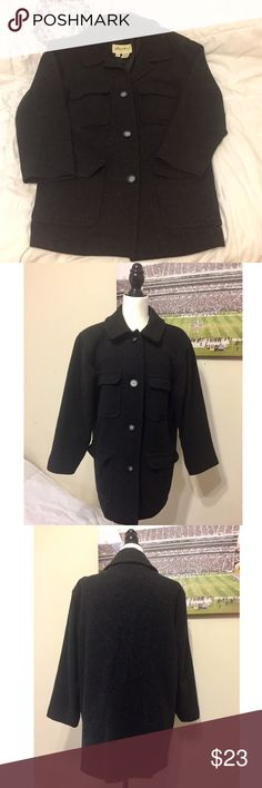 Eddie Bauer Oversized Wool Coat Eddie Bauer Oversized Wool Coat Size: Women's Small (oversized) Could fit someone who wears a large. It's been in my hallway closet for years. Used condition, needs to be dry cleaned.    85% Wool 15% Nylon and lining is 100% Polyester  Questions?  Please ask prior to purchasing Eddie Bauer Jackets & Coats Trench Coats