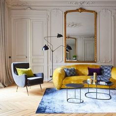 Modern lighting, ornate molding details and raw chevron floors complete a look that is quintessentially French. Colourful Living Room, Living Room Modern, Home Living Room, Living Room Designs, Living Room Decor, Living Room Inspiration, Interior Design Inspiration, Home Interior Design, Deco Design