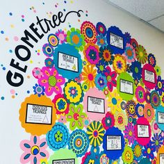 Classroom Update Idea: Middle school math is cuter than EVER! 🌳🤗💕 could not have made a more gorgeous and engaging GeomeTREE word wall! Swipe to get a closer look at the incredible details Math Wall, Math Word Walls, Maths Working Wall, Math Classroom Decorations, Classroom Setup, Classroom Word Wall, Math Bulletin Boards, Middle School Classroom, Middle School Decor