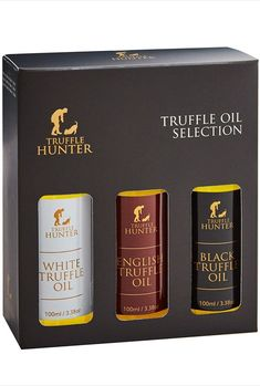 TruffleHunter Truffle Oil Selection Gift Set - White, English & Black Truffle Oil (3 x 3.38 Oz) Real Truffle Pieces Olive Oil Gourmet Food Seasoning Marinade - Vegetarian Vegan Kosher & Gluten Free. This luxury gift set contains three of our best selling truffle oils; Black Truffle Oil, White Truffle Oil & English Truffle Oil presented beautifully in a gift box. Perfect gift for Foodies. The Black Truffle Oil carries an intense and earthy flavor. The White Truffle Oil is flavorful and garlicky. Black Truffle Oil, White Truffle, Christmas Gift Guide, Christmas Gifts For Women, Best Gift For Brother, Good Housekeeping Cookbook, Blue Bottle Coffee, Cool Tech Gifts, Coffee Subscription