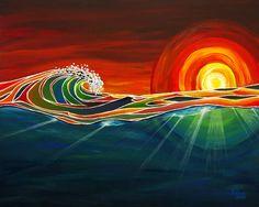 "Ocean Sunset Surf Art Print ""Rays"" for Tropical Beach Wall Decor, by Patrick Parker Art, Hawaiian Surf Artist (Unmatted) Art Vampire, Vampire Knight, Art Surf, Tenacious D, Arte Alien, Sunset Surf, Hawaiian Art, Surfboard Art, Wave Art"