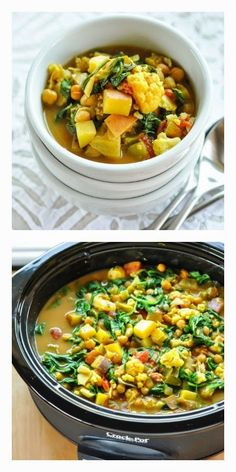 Slow Cooker Curried Vegetable and Chickpea Stew from The Kitchn is perfect for a #MeatlessMonday meal, and cooking this in the slow cooker won't heat up the house. [Featured on SlowCookerFromScratch.com]