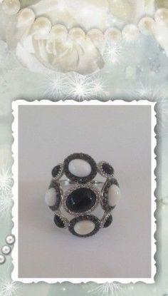 Carlo Viani 14k Black White Diamond Onyx White Agate Ring SHOPNBC