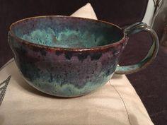 Amaco glaze - 3 coats textured turquoise, smokey merlot on upper, blue midnight around rim