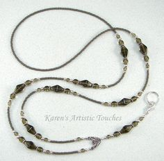 Gray Elegant Glass Beaded Lanyard ID Badge by ArtisticTouches, $26.00