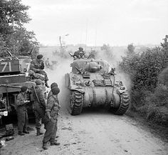 British Sherman tanks near Lebisey Wood for the assault on Caen France 8 July 1944. Pin by Paolo Marzioli