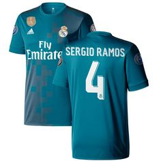 competitive price 5dfb4 cc2e6 Sergio Ramos Real Madrid adidas 2017 18 Third Replica Jersey - Teal